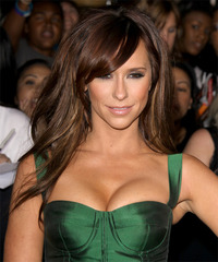 Jennifer Love Hewitt Long Straight Formal    Hairstyle with Side Swept Bangs  -  Chocolate Brunette Hair Color