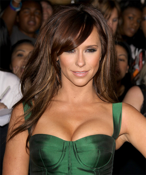 Jennifer Love Hewitt Long Straight Chocolate Brunette Hairstyle with Side Swept Bangs - Hair Color suitable for Warm Skin Tones