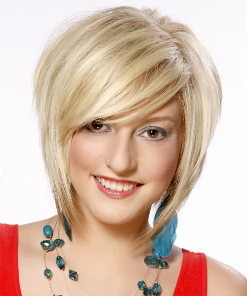 Short Straight Formal Bob  Hairstyle with Side Swept Bangs  - Light Blonde (Platinum)