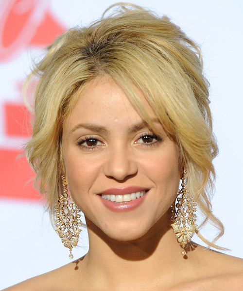 Shakira  Long Straight Formal   Updo Hairstyle with Layered Bangs  - Light Golden Blonde Hair Color