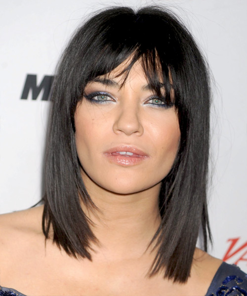 Jessica Szohr Medium Straight Casual Bob  Hairstyle with Layered Bangs  - Black