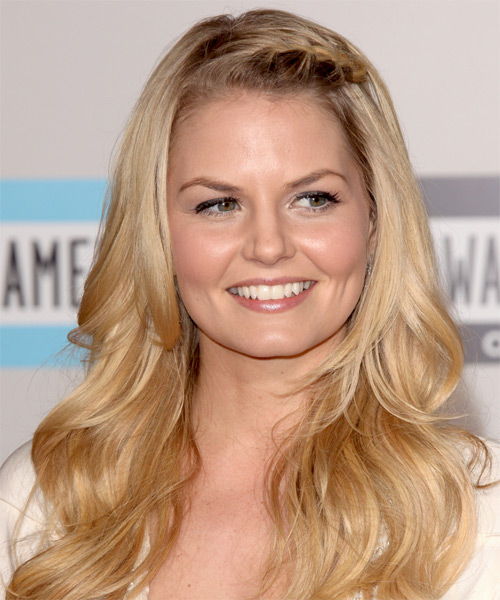 Jennifer Morrison  Long Straight Casual   Half Up Hairstyle   - Medium Golden Blonde Hair Color with Light Blonde Highlights