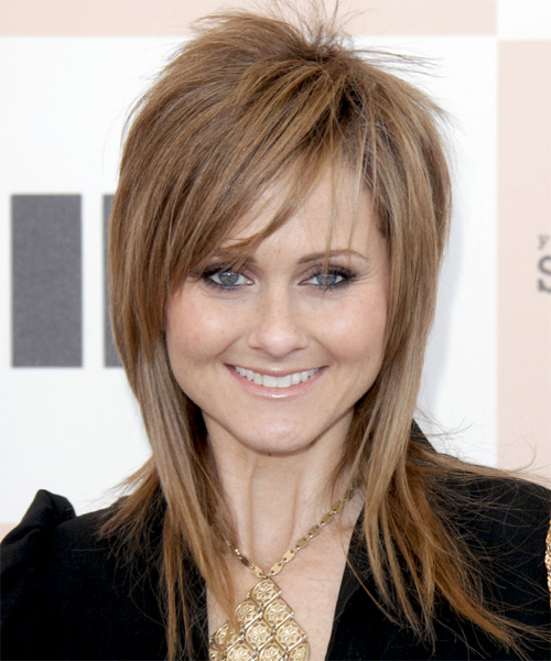 Heather Kafka Long Straight Alternative    Hairstyle with Side Swept Bangs  - Light Caramel Brunette Hair Color with Light Blonde Highlights