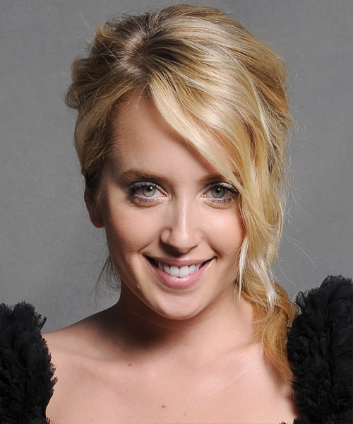 Megan Park  Long Curly Formal   Updo Hairstyle with Side Swept Bangs  - Dark Golden Blonde Hair Color with Light Blonde Highlights