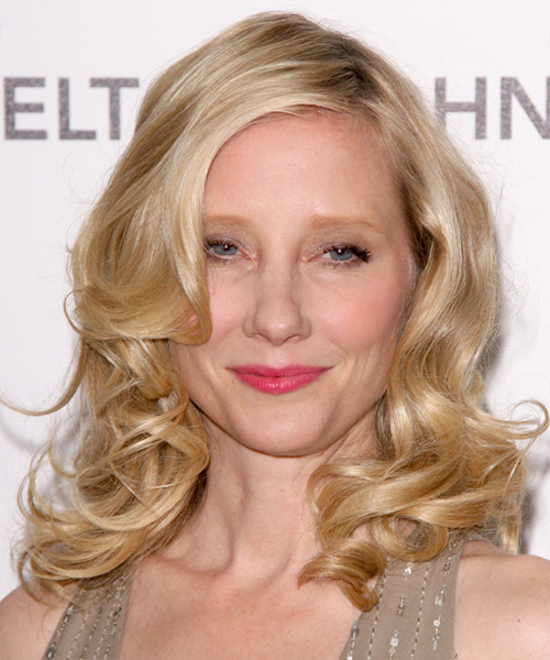 Anne Heche Medium Wavy Formal    Hairstyle   - Medium Golden Blonde Hair Color with Light Blonde Highlights
