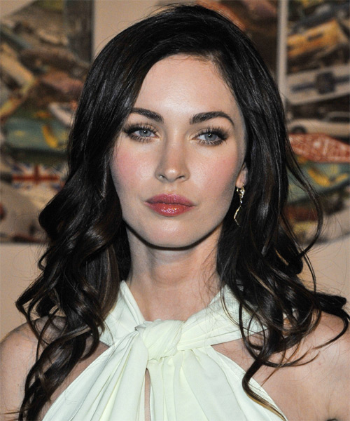 Megan Fox Long Wavy Casual    Hairstyle   - Black  Hair Color