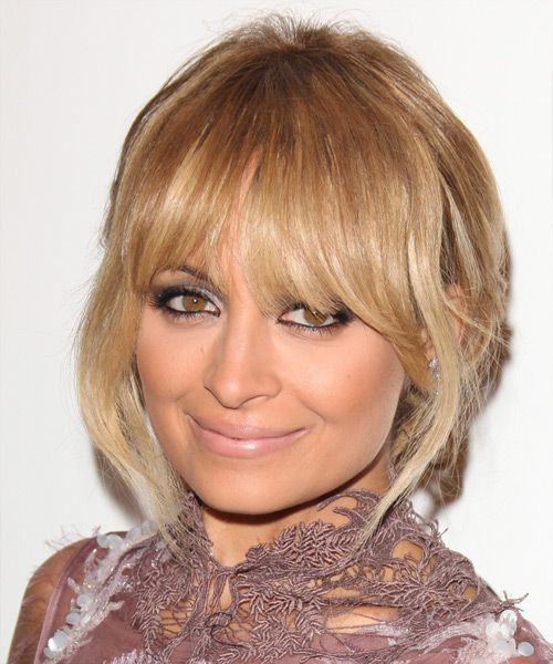 Nicole Richie  Long Straight    Golden Blonde  Updo  with Blunt Cut Bangs  and Light Blonde Highlights