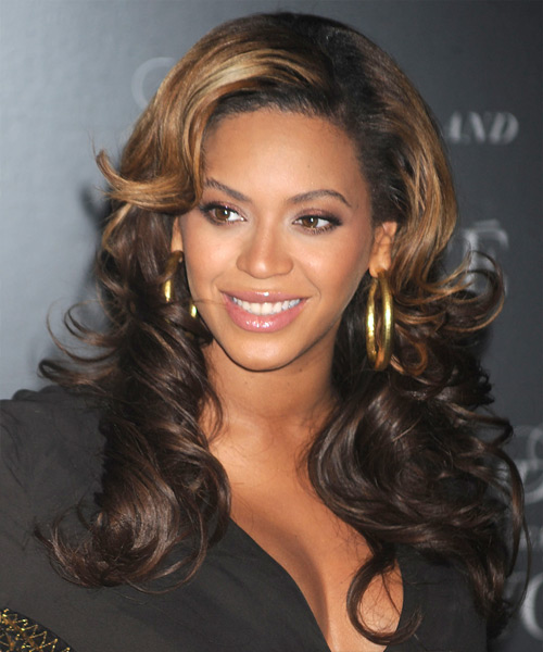 Beyonce Knowles Long Wavy Formal    Hairstyle   - Dark Brunette and Dark Blonde Two-Tone Hair Color