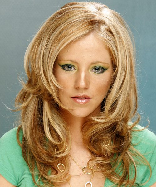 Long Wavy Formal    Hairstyle   -  Golden Blonde Hair Color with Light Blonde Highlights