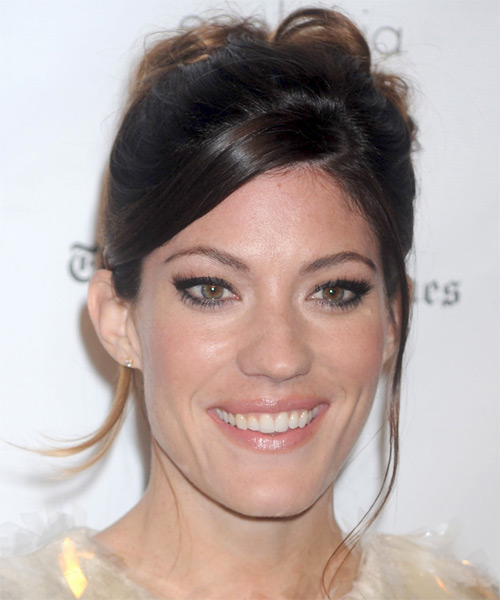 Jennifer Carpenter Updo Long Curly Formal  Updo Hairstyle with Side Swept Bangs  - Dark Brunette