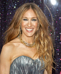 Sarah Jessica Parker Long Wavy Casual    Hairstyle   - Light Auburn Brunette Hair Color
