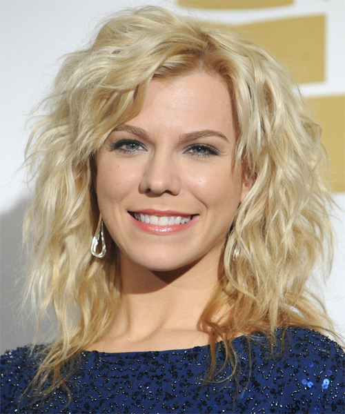 Kimberly Perry Medium Wavy   Light Golden Blonde Shag  Hairstyle   with Light Blonde Highlights