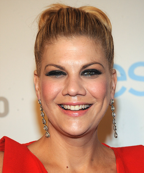 Kristen Johnston  Long Straight   Dark Copper Blonde  Updo    with Light Blonde Highlights