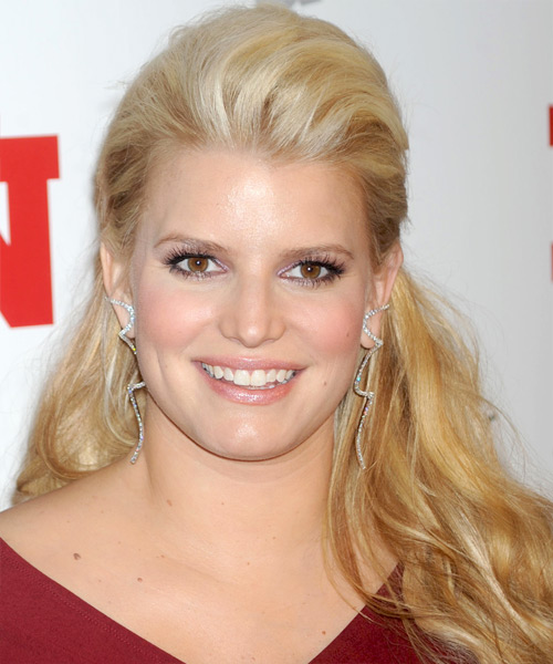 Jessica Simpson  Long Straight Casual   Half Up Hairstyle   -  Golden Blonde Hair Color with Light Blonde Highlights