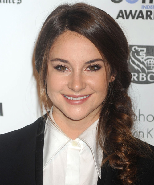 Shailene Woodley Long Curly Brunette Braided Updo