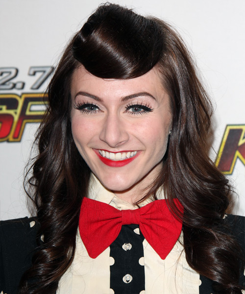 Amy Heidemann  Long Curly Formal   Half Up Hairstyle   - Dark Brunette Hair Color