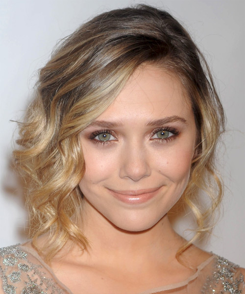 Elizabeth Olsen  Medium Curly Formal   Updo Hairstyle   - Dark Blonde Hair Color with Light Blonde Highlights