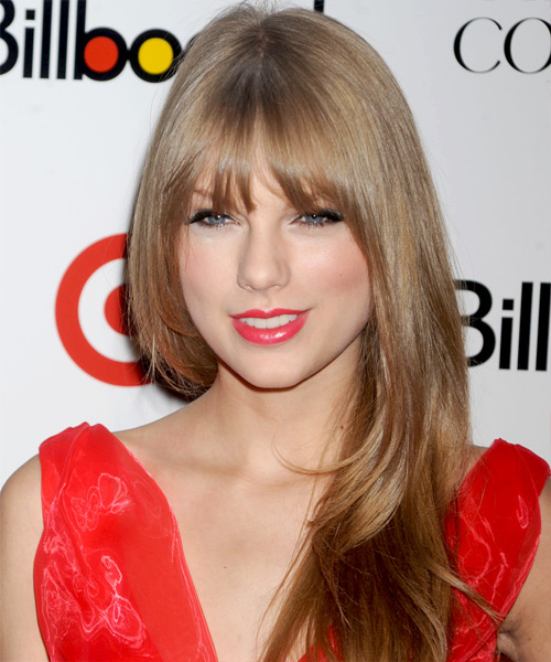 Taylor Swift Long Straight Formal    Hairstyle with Blunt Cut Bangs  - Light Caramel Brunette Hair Color