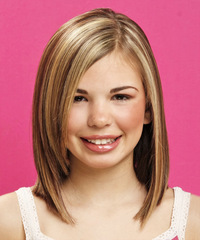 Long Straight Formal    Hairstyle   -  Chestnut Brunette Hair Color with Light Blonde Highlights