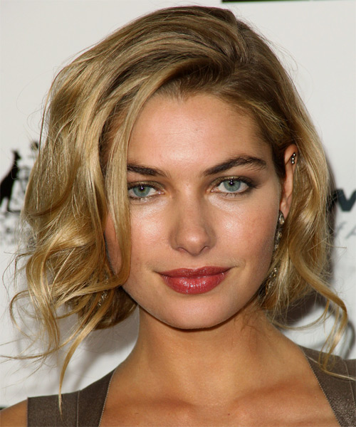 Jessica Hart Medium Wavy Layered  Dark Ash Blonde Bob  Haircut   with Light Blonde Highlights