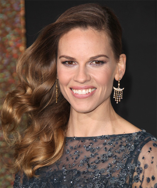 Hilary Swank Long Wavy Formal    Hairstyle   -  Chestnut Brunette Hair Color with Dark Blonde Highlights