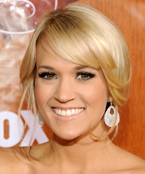 Carrie Underwood  Long Straight Formal   Updo Hairstyle with Side Swept Bangs  - Light Honey Blonde Hair Color with Light Blonde Highlights