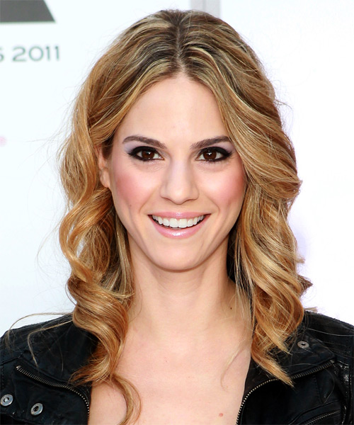 Kelly Kruger Medium Wavy Casual    Hairstyle   - Dark Copper Blonde Hair Color with Light Blonde Highlights