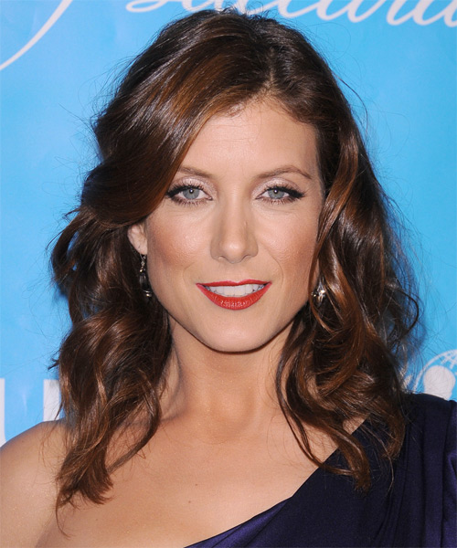 Kate Walsh Medium Wavy Casual    Hairstyle   - Dark Brunette Hair Color with Medium Red Highlights
