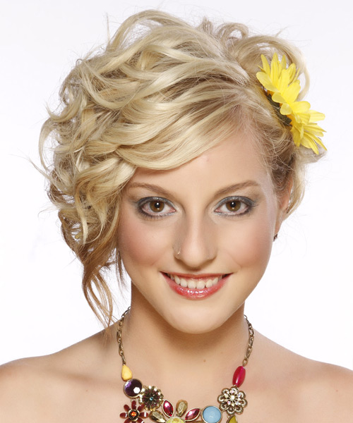 Updo Medium Curly Formal Updo Hairstyle - Light Blonde