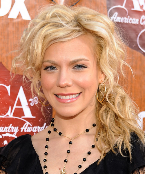 Kimberly Perry Half Up Long Curly Casual  Half Up Hairstyle   - Light Blonde (Golden)