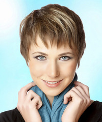 Layered  Light Brunette Pixie  Cut with Layered Bangs  and Light Blonde Highlights