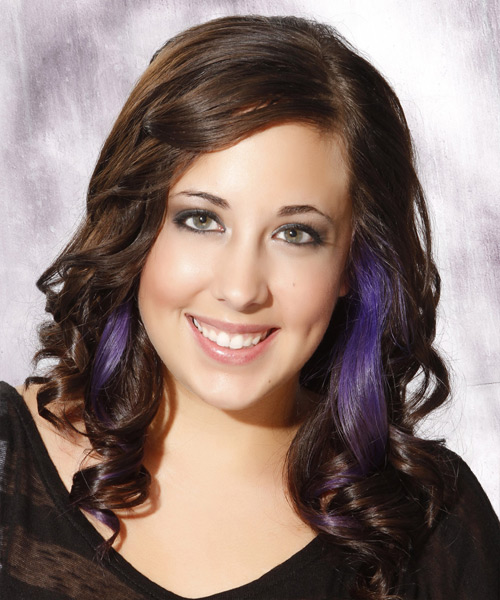 Long Curly Formal  Emo  Hairstyle   -  Brunette Hair Color with Purple Highlights