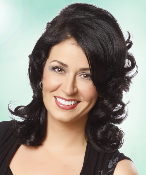 Medium Wavy Formal   Hairstyle   - Black