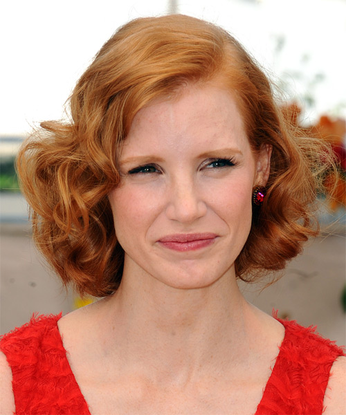 Jessica Chastain Medium Wavy    Strawberry Blonde   Hairstyle