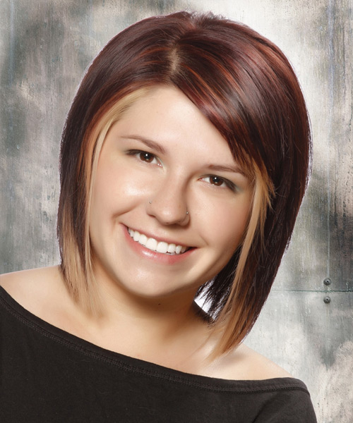 Medium Straight Layered  Dark Plum Red Bob  Haircut with Side Swept Bangs  and Light Blonde Highlights