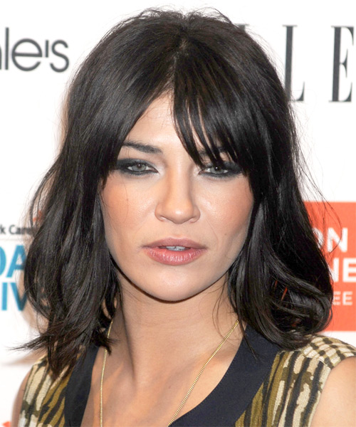 Jessica Szohr Medium Straight   Black    Hairstyle with Layered Bangs