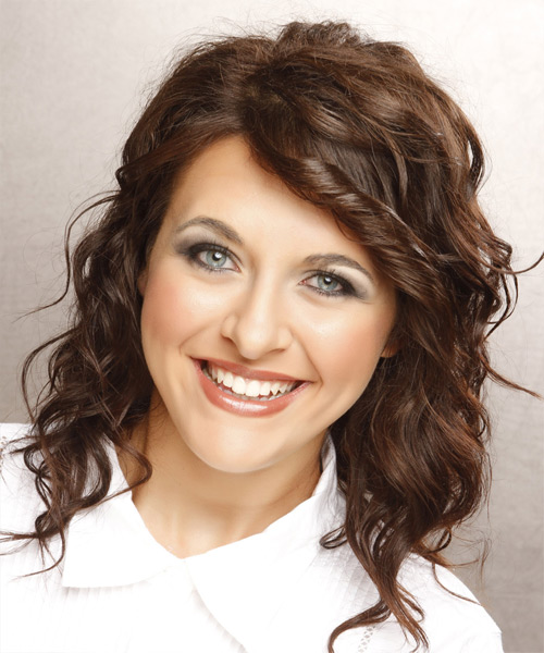 Medium Wavy Casual   Hairstyle   - Medium Brunette