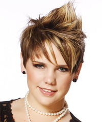 Short Straight Alternative  Mohawk  Hairstyle with Side Swept Bangs  -  Caramel Brunette Hair Color with Light Blonde Highlights