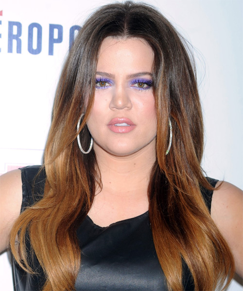 Khloe Kardashian Long Straight Casual    Hairstyle   -  Brunette and Copper Two-Tone Hair Color