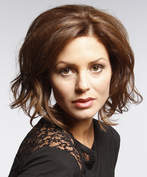 Short Wavy Casual    Hairstyle   -  Chocolate Brunette Hair Color