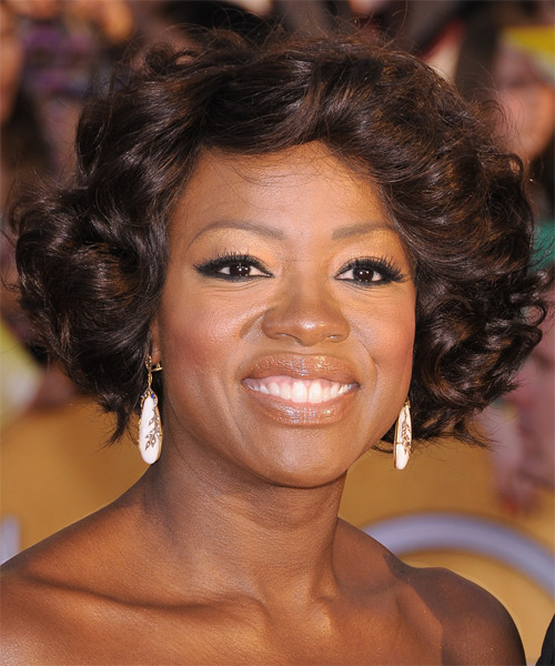 Viola Davis Short Wavy Formal    Hairstyle   -  Chocolate Brunette Hair Color