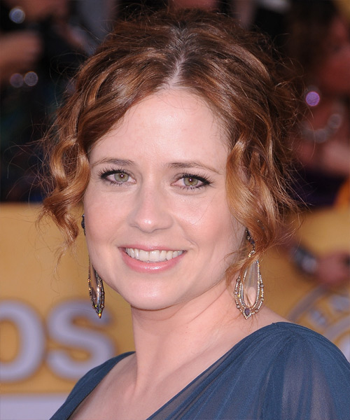 Jenna Fischer  Long Curly Formal   Updo Hairstyle   - Medium Burgundy Brunette Hair Color with Medium Red Highlights