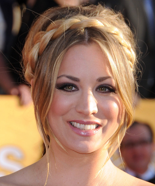 Kaley Cuoco  Long Straight Formal   Updo Hairstyle   - Medium Ash Blonde Hair Color with Light Blonde Highlights