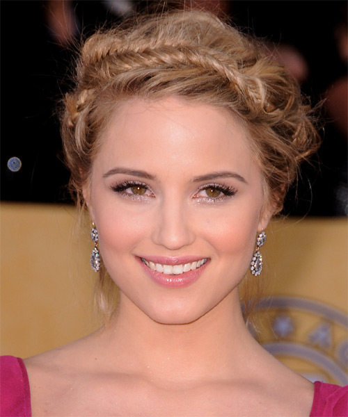 Dianna Agron  Long Straight    Champagne Blonde Braided Updo    with Light Blonde Highlights