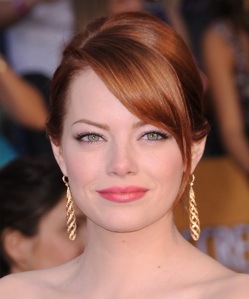 Emma Stone  Long Straight Formal   Updo Hairstyle with Side Swept Bangs  -  Ginger Red Hair Color