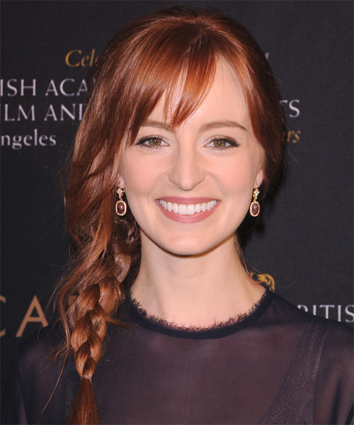 Ahna O'Reilly  Long Curly Casual  Braided Half Up Hairstyle with Side Swept Bangs  -  Red Hair Color