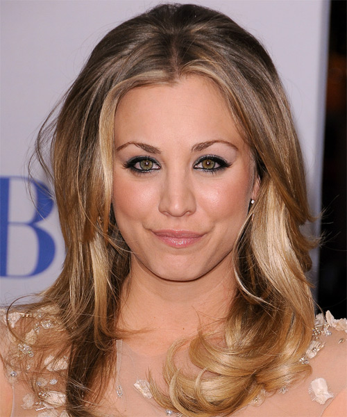 Kaley Cuoco Long Straight Formal    Hairstyle   - Dark Blonde Hair Color with Light Blonde Highlights