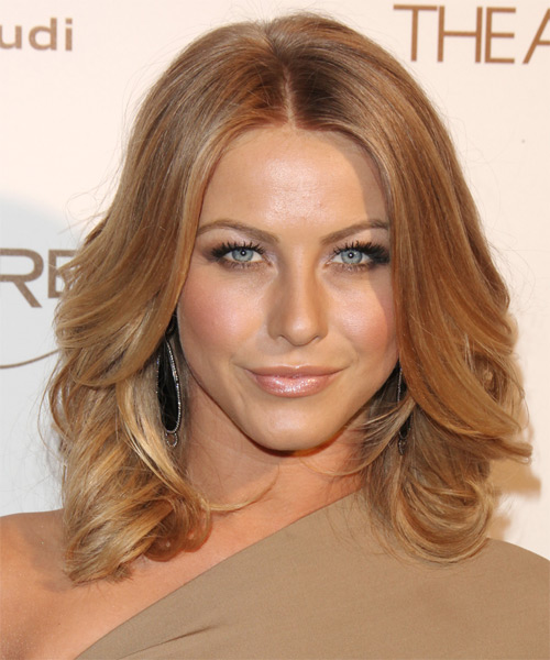 Julianne Hough Medium Wavy Casual Layered Bob  Hairstyle   -  Copper Blonde Hair Color with Light Blonde Highlights