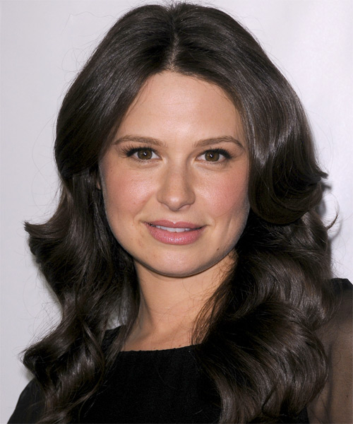 Katie Lowes Long Wavy Casual   Hairstyle   - Black