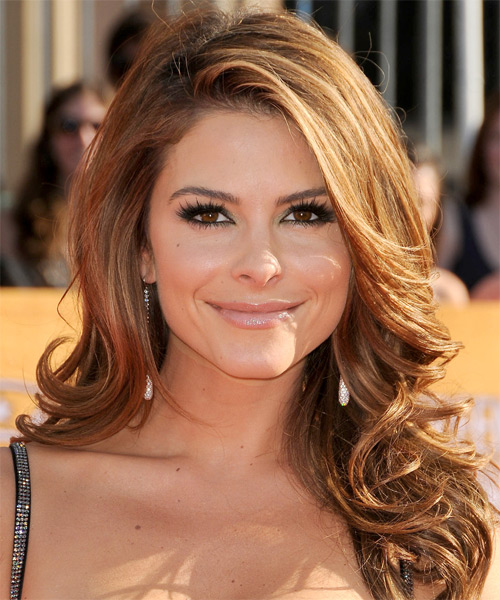 Maria Menounos Long Wavy Formal    Hairstyle   - Light Copper Brunette Hair Color with Light Blonde Highlights